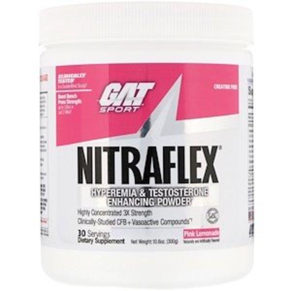 GAT Nitraflex, rosa Limonade, 300 g: Pulver zur Verbesserung von Hyperämie und Testosteronspiegel