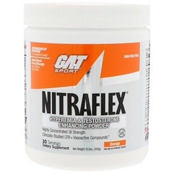 GAT Nitraflex, Orange, 300 g: Pulver zur Verbesserung von Hyperämie und Testosteronspiegel