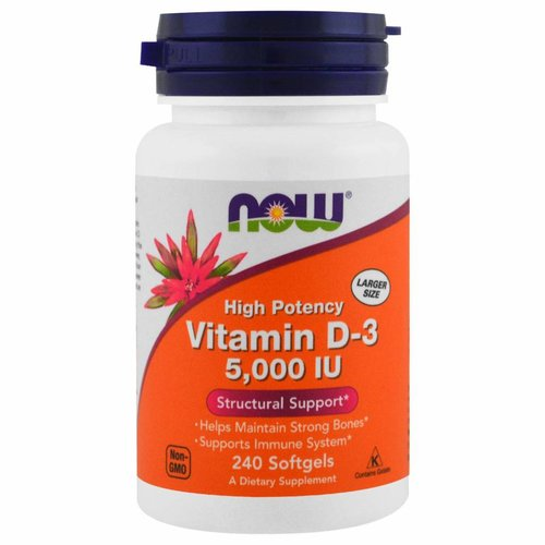 Now Foods Vitamin D-3, 5.000 IU, 240 Weichkapseln