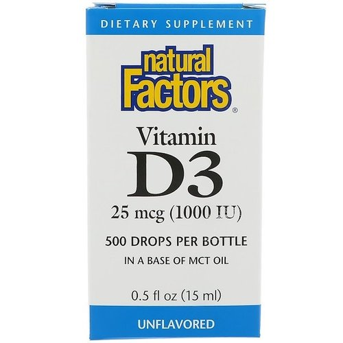 Natural Factors Vitamin D3-Tropfen, geschmacksneutral (1.000 IE)