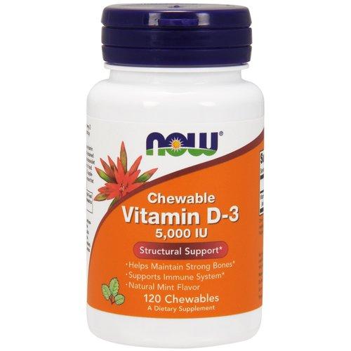 Now Vitamin D-3 (5.000 IE): natürlicher Minzgeschmack, Kautabletten
