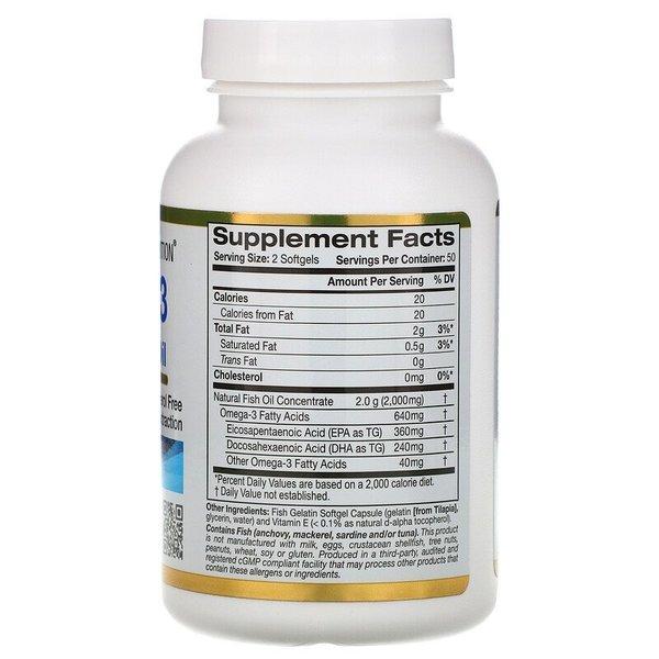 California Gold Nutrition Omega-3Omega-3, Premium Fish Oil, 100 Fish Gelatin Softgels