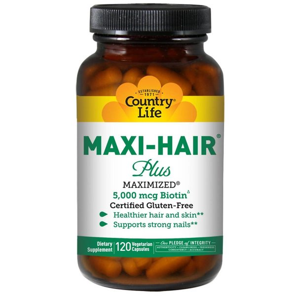 Country Life Glutenfreies Maxi Hair Plus, 120 Veggie Caps für gesundes Haar