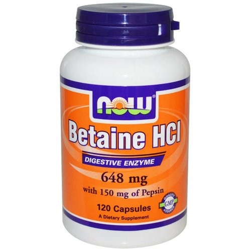Now Betain (Betaine) HCI, 648 mg, 120 Kapseln
