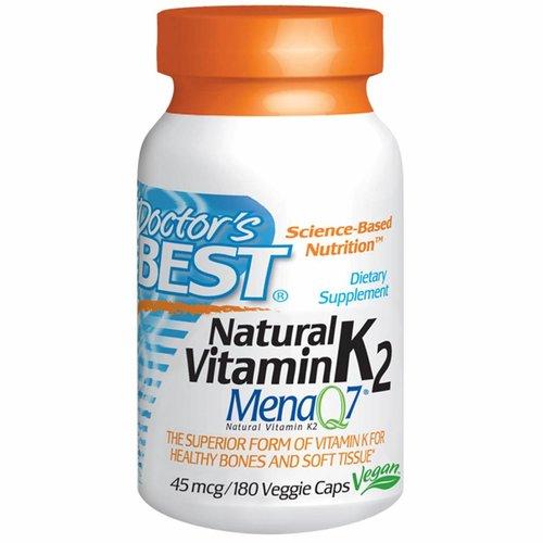 Doctor's Best Natürliches Vitamin K2, Mena Q7, 45 mcg, 180 Veggie Caps