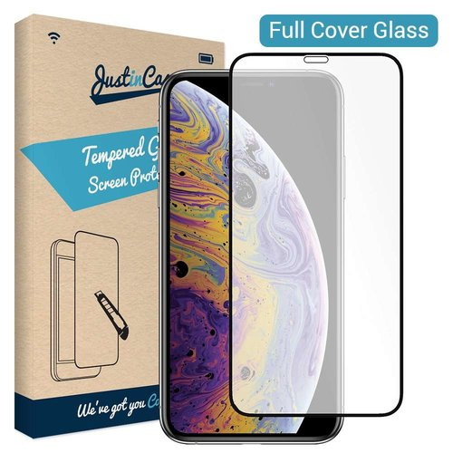 Just in Case Full Cover Tempered Glass Apple iPhone XS (Zwart)
