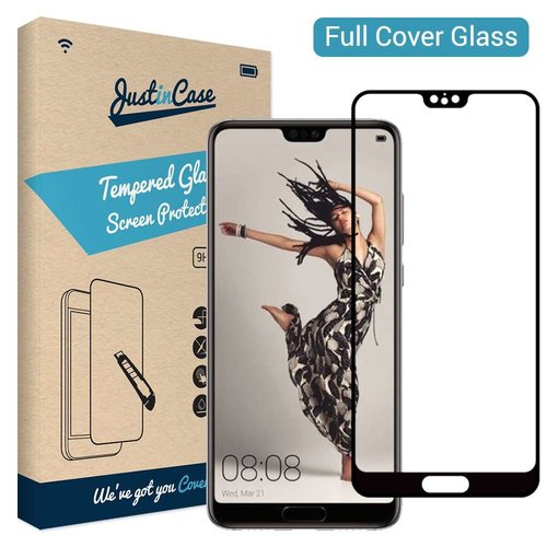 Just in Case Full Cover Tempered Glass Huawei P20 (Zwart)