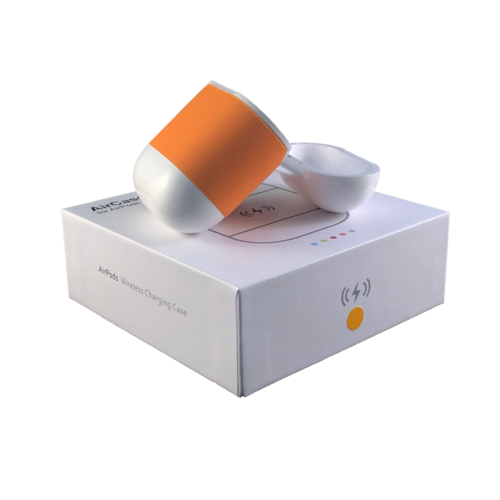 Merkloos AirPods Qi Case (Oranje) - Apple AirPods Draadloos Opladen