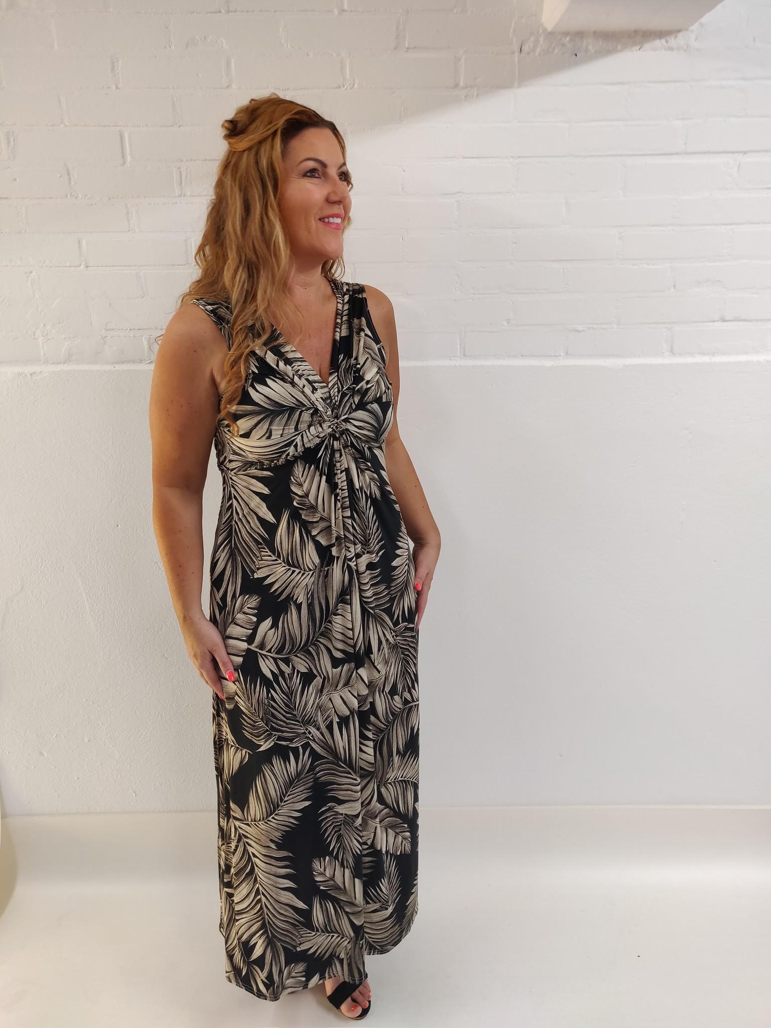Verbazingwekkend Verm jurk lang bladeren taupe zwart - Modesnoepies AM-74