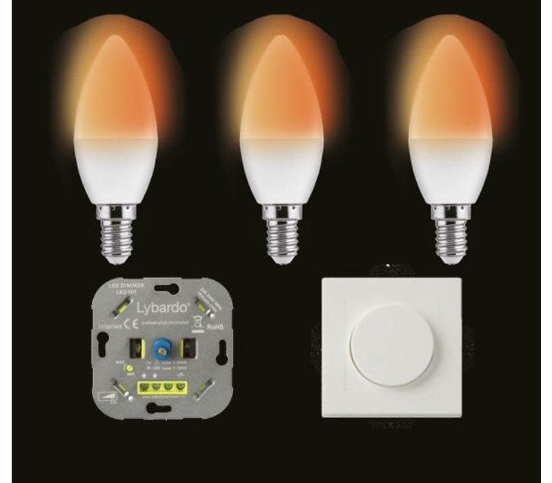 Wellmax E14 C37 dim to warm - 3 pcs