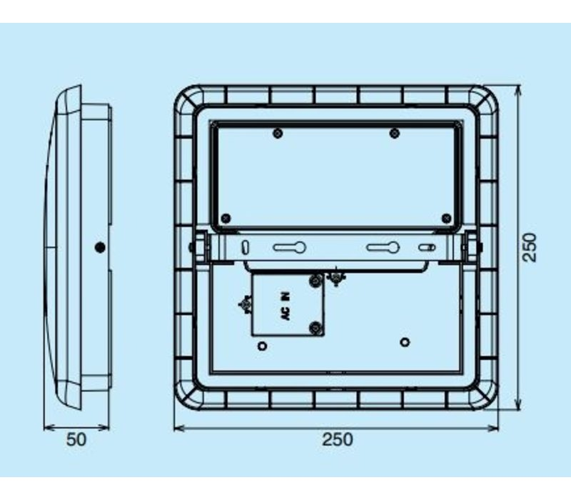 12W, 25x25cm, Not- und Bewegungsmelder, DL-AL12-10-12W-M