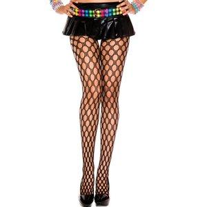 Music Legs Netstof Panty Met Ronde Gaten - Zwart