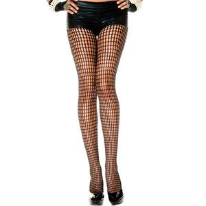 Music Legs Panty Met Gaatjes Design - Zwart
