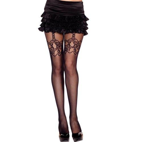 Music Legs Panty Met Jarretellook - Zwart