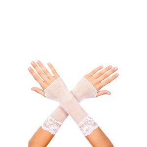 Music Legs Korte Visnet Handschoenen Met Kant - Wit