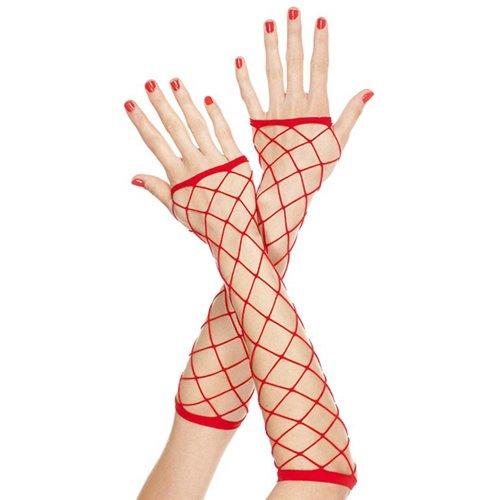 Music Legs Lange Vingerloze Handschoenen Van Grof Netstof - Rood