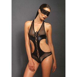 KINK Body met open kruis en bijpassend oogmasker - Zwart