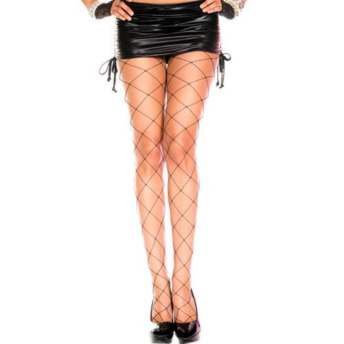 Music Legs Grove Netstof Panty - Zwart