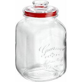 "Vorratsglas ""Country Gourmet"" eckig mit Glasdeckel Ø10cm 3,1 L"