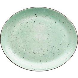 "Porzellanserie ""Granja"" mint Platte flach oval, 30,5 x 25,5 cm - NEU"