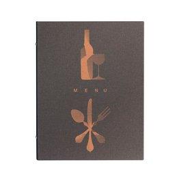 "Speisenkarte, dunkelbraun ""Leinen"", A5"