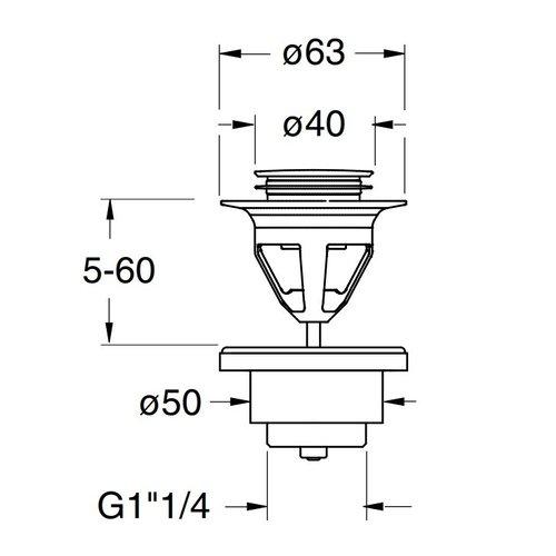 Betacryl Solid Surface Afvoerplug verchroomd UD 22551  5/4