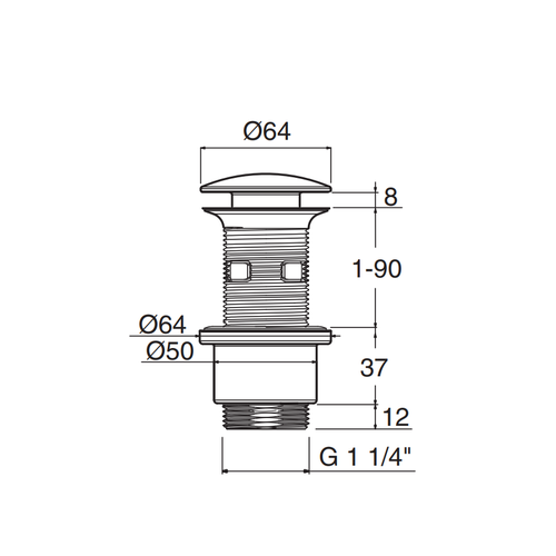 Betacryl Solid Surface Afvoerplug WA 11195 U&D 5/4 Inox