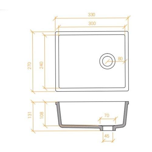 Betacryl Solid Surface Rechthoekige waskom BB R 3024 Classic White zonder overloop 300 x 240 mm
