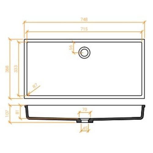 Betacryl Solid Surface Rechthoekige waskom BB R 618 Classic White zonder overloop 715 x 333 mm