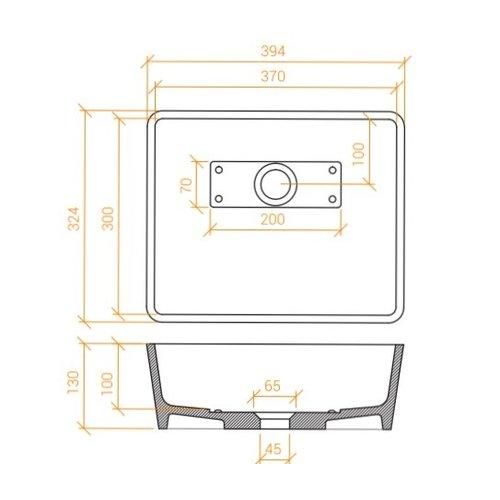 Betacryl Solid Surface Rechthoekige opbouwwaskom BB R 3730 Classic White zonder overloop 394 x 324mm