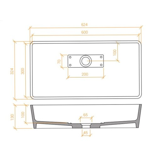 Betacryl Solid Surface Rechthoekige opbouwwaskom BB R 6130 B Classic White zonder overloop 624 x 324 mm