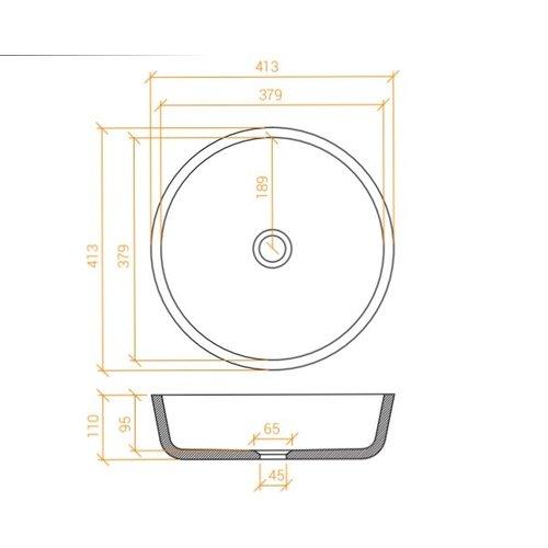Betacryl Solid Surface Ronde opbouwwaskom BB R 379 Classic White zonder overloop 413 mm