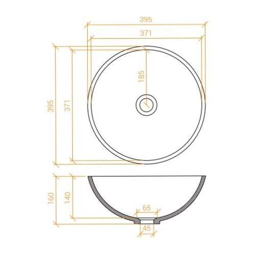 Betacryl Solid Surface Ronde opbouwwaskom BB R 409 Classic White zonder overloop 395 mm