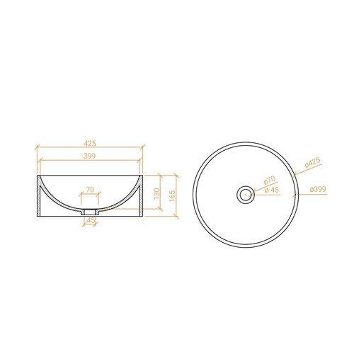 Betacryl Solid Surface Ronde opbouwwaskom BB R 915 Classic White zonder overloop 425 mm