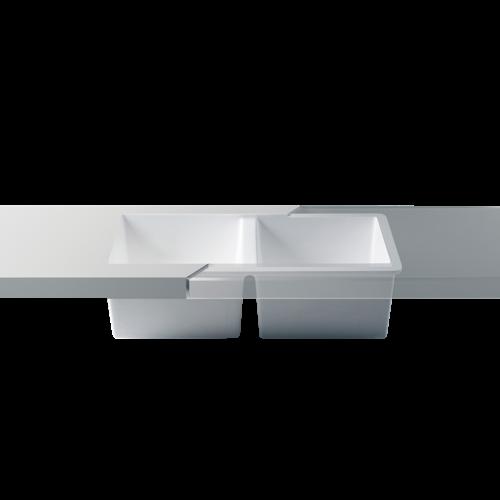 Betacryl Solid Surface Dubbele keukenspoelbak 770 x 400 mm zonder overloop BS D 7740 Classic White