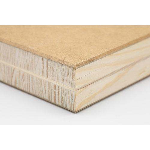 5-laagse blokplaat met HDF dek dubbele  kern 2800 x 2070 x 50 mm