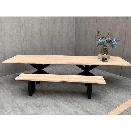 Massief houten zitbank boomkant eik rustiek C  2200 x 450 x 40 mm