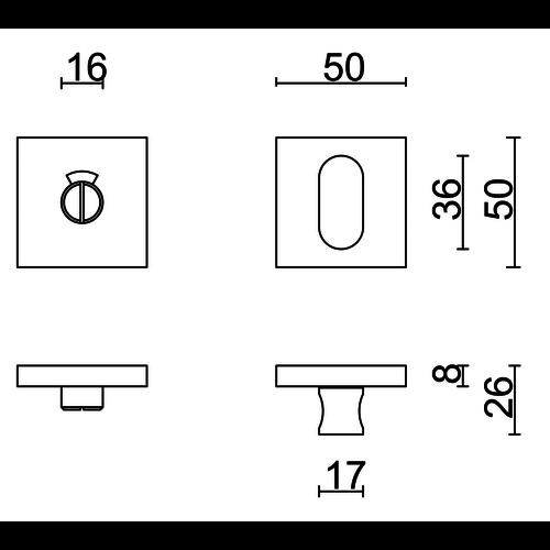 HDD WC Garnituur Kubic Shape Inox Plus