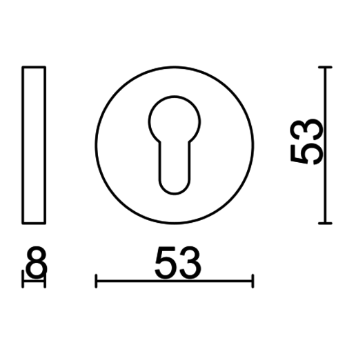 HDD Cylinderplaatje rond Inox Plus - Set van 2 stuks