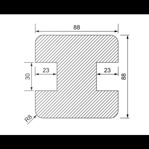 Tussen-Gleufpaal 90 x 90 mm met groeven van 30 mm