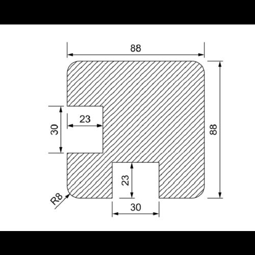Hoek-Gleufpaal 90 x 90 mm met groeven van 30 mm