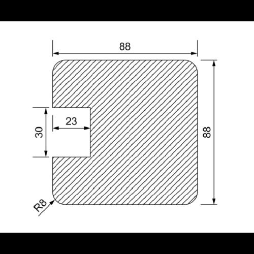 Eind-Gleufpaal 90 x 90 mm met groeven van 30 mm