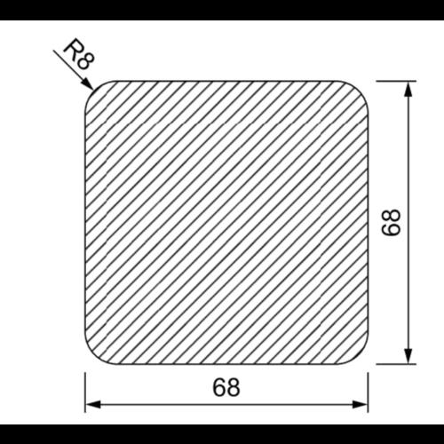 Tuinpaal 70 x 70 mm met 4 afgeronde hoeken