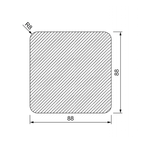 Vierkante Tuinpaal 90 x 90 mm met 4 afgeronde hoeken
