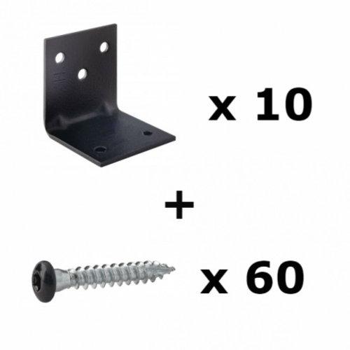 Set zwarte hoekverbinding & schroef
