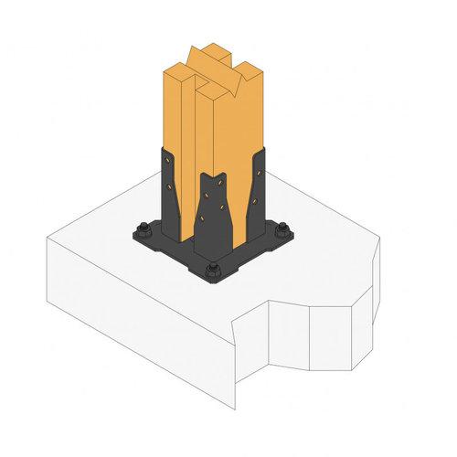 Nuance Vierkante pergolavoet zwart 90 x 90 mm