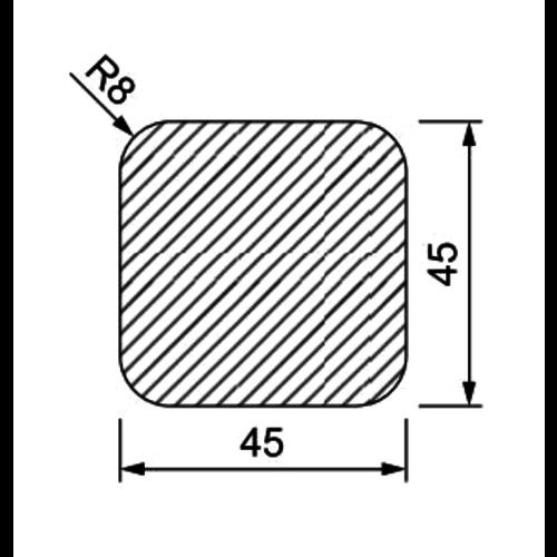 Grenen geïmpregneerd 45 x 45 mm met 4 afgeronde hoeken 3 meter