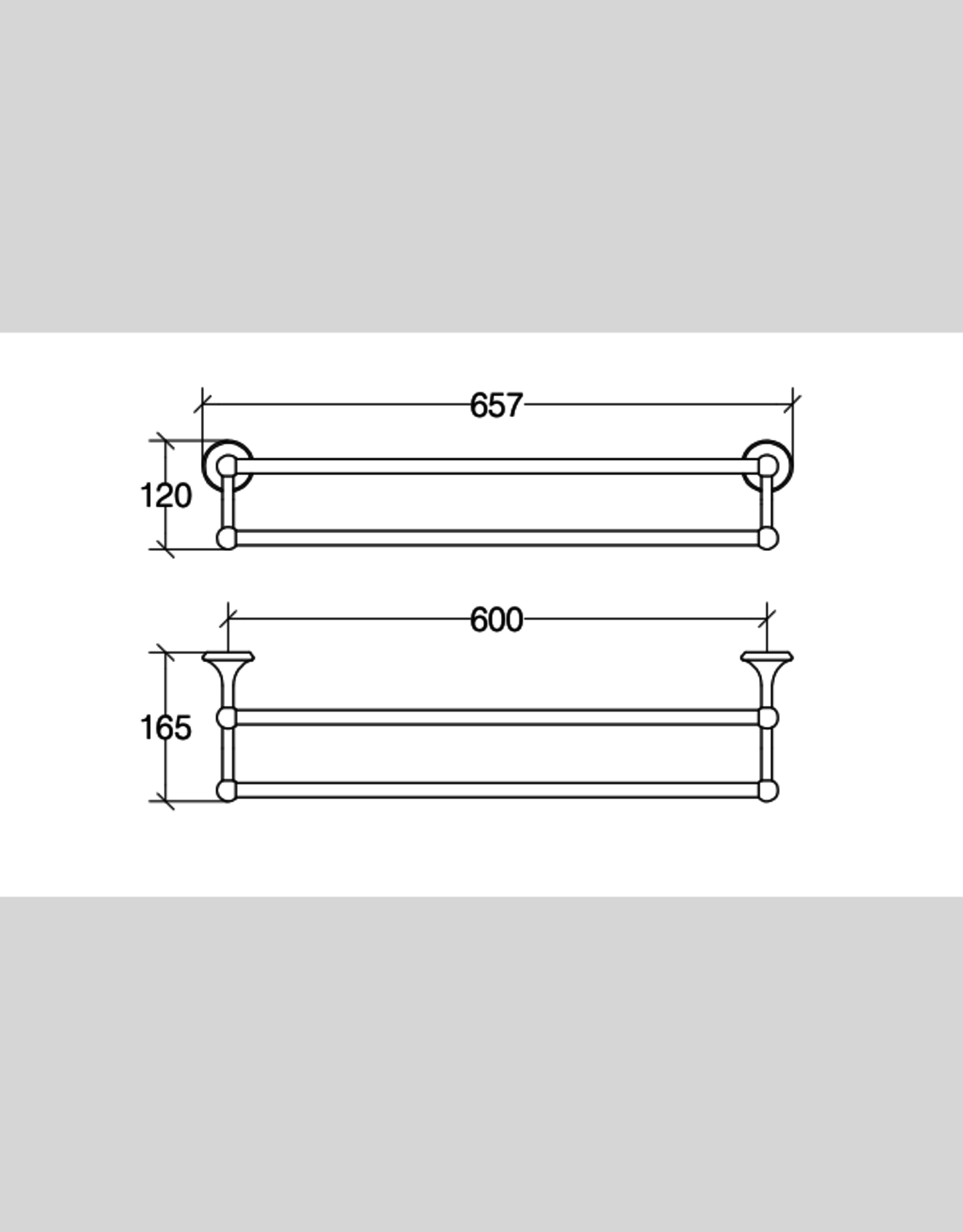 Venessia Venessia towel rail, double, black nickel