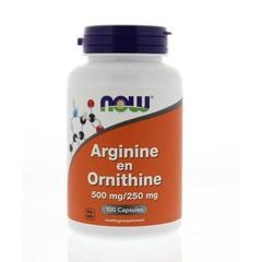 NOW Arginin & Ornithin 500/250 mg 100 Kapseln.