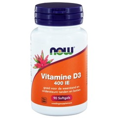 NOW Vitamin D3 400IE 90 Kapseln